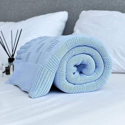 Mantas Grandes y Suaves para Camas Ropa de Cama de algodón Manta de Tejer a Cuadros Aire Acondicionado Cómoda Cama para Dormir Colchas Manta para Sofa @ Sky_Blue_150X200Cm: Amazon.es: Hogar