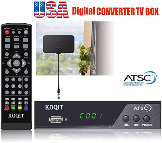 Atsc Digital Converter Box Free Analog CH3 CH4 Receiver ATSC Tuner TV Box Media Player Bundle 30 Mile Flat UHF VHF Digital TV Indoor Antenna HDMI Cable Recording PVR Coaxial Out USB Input