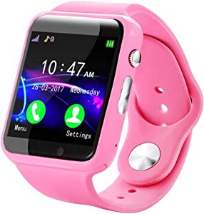 1.54 Inch Screen Smart Child Watch, Music Playback, Sedentary Reminder, Calculator Alarm, Multi-Functional Bluetooth Touch Smartwatch, Best Gift(Pink)