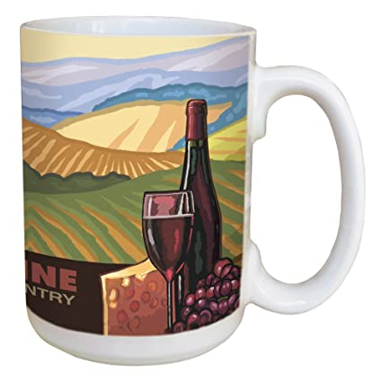 Tree-Free Greetings LM46370 Wine Country 15 Ounce Ceramic Coffee Mug with Full Sized Handle