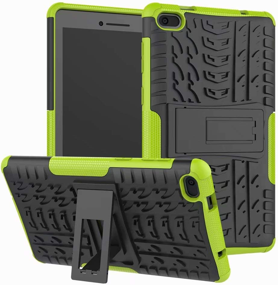 Lantier Hybrid Armor Shockproof Impact Protection Tough Hard Rugged Heavy Duty Combo Dual Layer Protective Case with Kickstand for Lenovo TAB E7 7 Inch 2018 Green