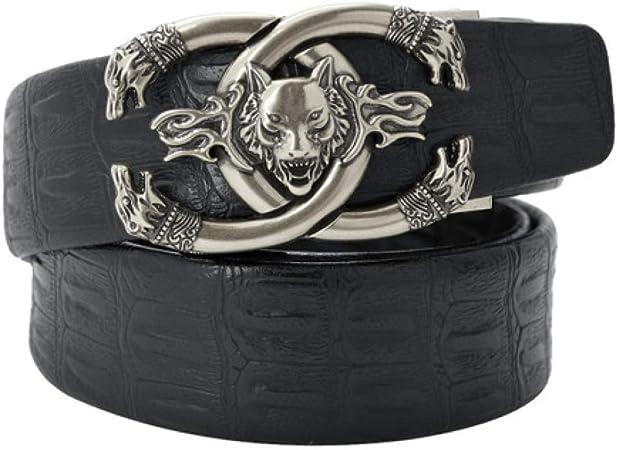 DENGDAI Mens Belt Leather Automatic Buckle Man Belt
