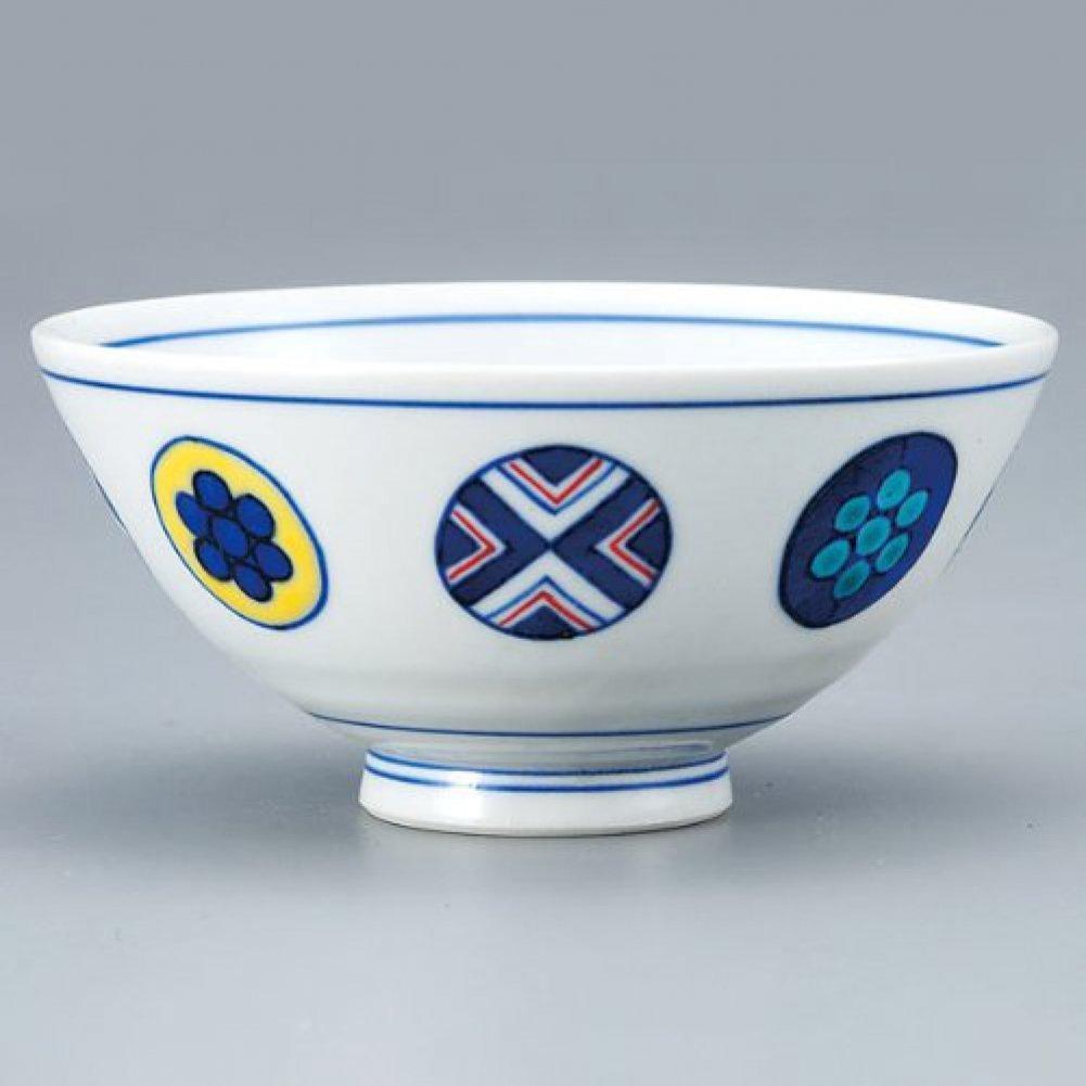 Japanese Rice Bowl Circle Pattern KUTANI YAKI ware