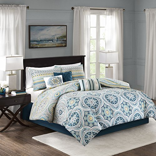 Mercia 7 Piece Reversible Cotton Sateen Comforter Set Navy King by Madison Park