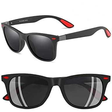Amazon.com: Gafas de sol para hombre Wayfarer con marco ...