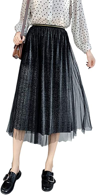 TianBin Mujer Falda Larga de Tul Plisada Tutu con Cintura Elástica ...