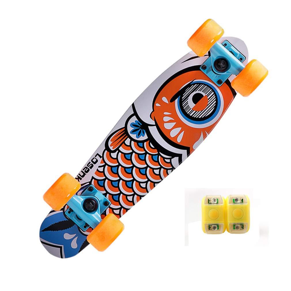 DUBAOBAO Mini Cruiser Unisex Street Skateboard 4 Colores, Luces de Advertencia, Marco de Arce de 22, Orange