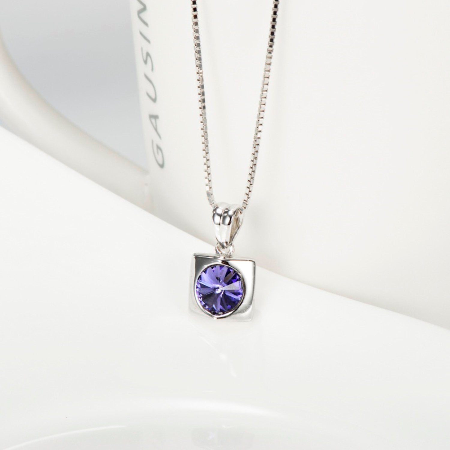 CS-DB Pendants Necklaces Silver Purple Crystal Square Jewelry Jewelry Girls