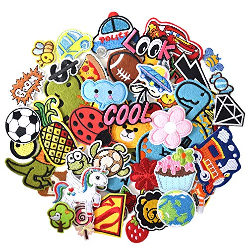 J.CARP 60Pcs Random Assorted Iron on Patches, Cute Sewing Applique for Clothes Dress, B
