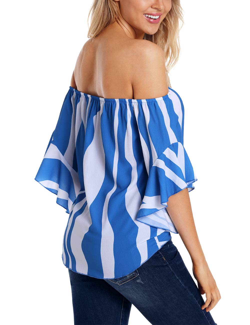 RSM &CHENG Women's Striped Off Shoulder Bell Sleeve Shirt Tie Knot Casual Blouses Tops(Stripe Blue,L)