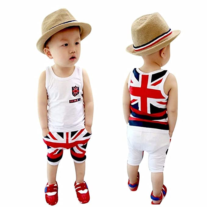 Kids Baby Boys Fashion Sleeveless Union Jack Outfits Vest Tops Pants Set Clothes