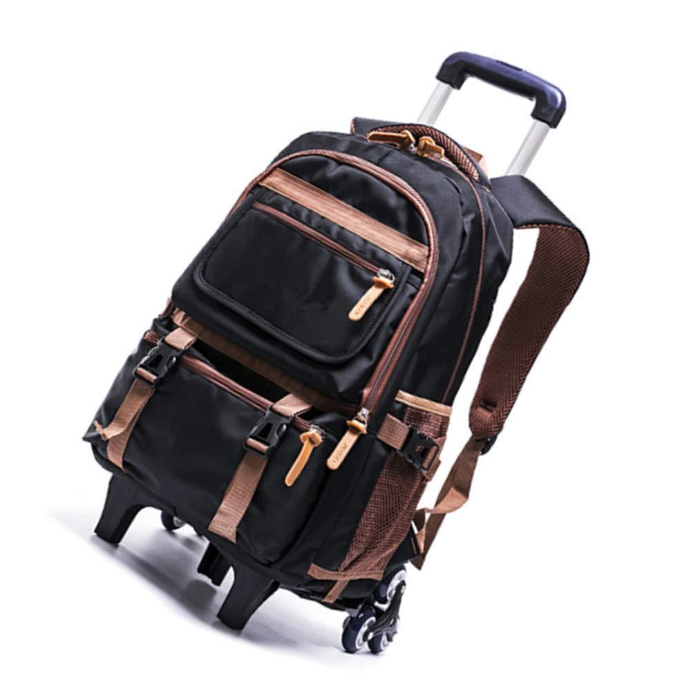 Borsa Bambini Ruote di Rolling Backpack - Elementare Studenti Trolley Schoolbag(Nero 6 Ruote)