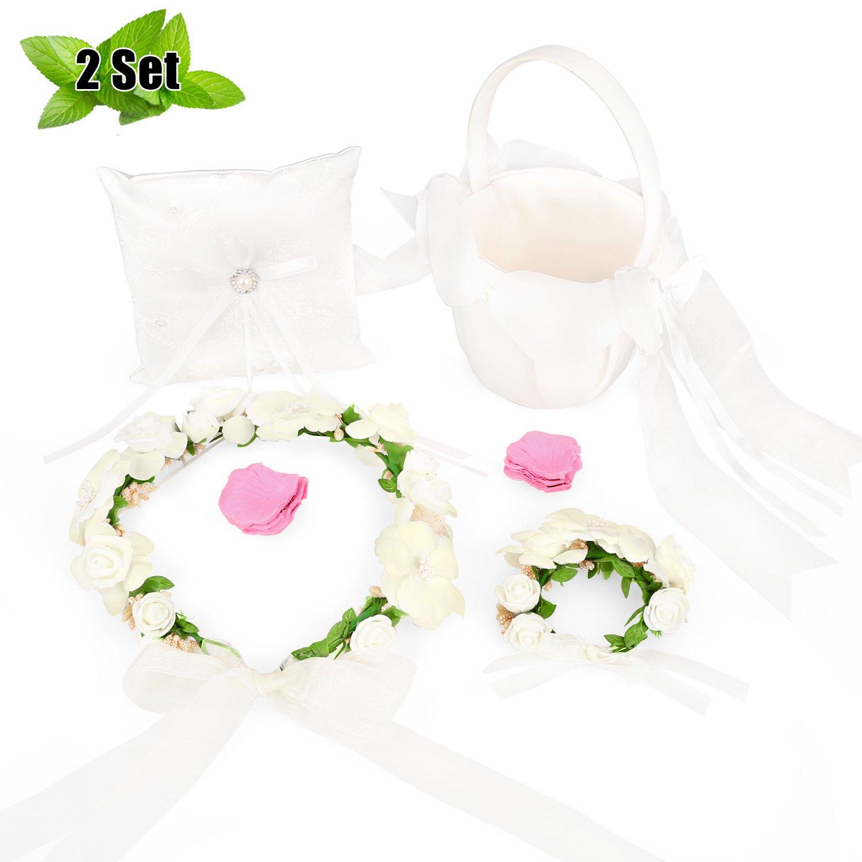 Molliya 2 set Wedding Satin Bowknot Flower Girl Basket and Ring Bearer Pillow Set with Flower Headbands Crown and Flower Bracelets Set