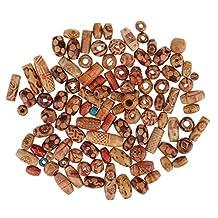 MonkeyJack 100 Pieces Wooden Beads Mixed Patterns Shapes Round Tube Rice Large Hole Beads