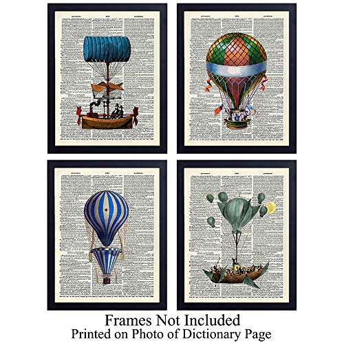 Colorful Balloon Unframed Dictionary Wall Art Prints - Great Gift for Steampunk Fans and Hot Air Balloon Enthusiasts - Chic Home Decor - Ready to Frame (8x10) Vintage ()