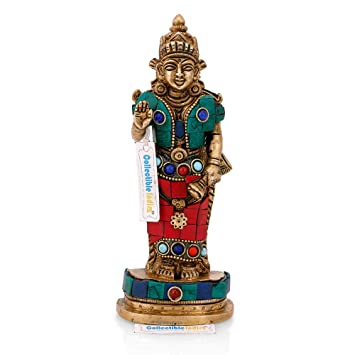 "Indian Hindu Goddess OF Wealth Laxmi Lakshmi Standing Décor Statue Idol 7/"""