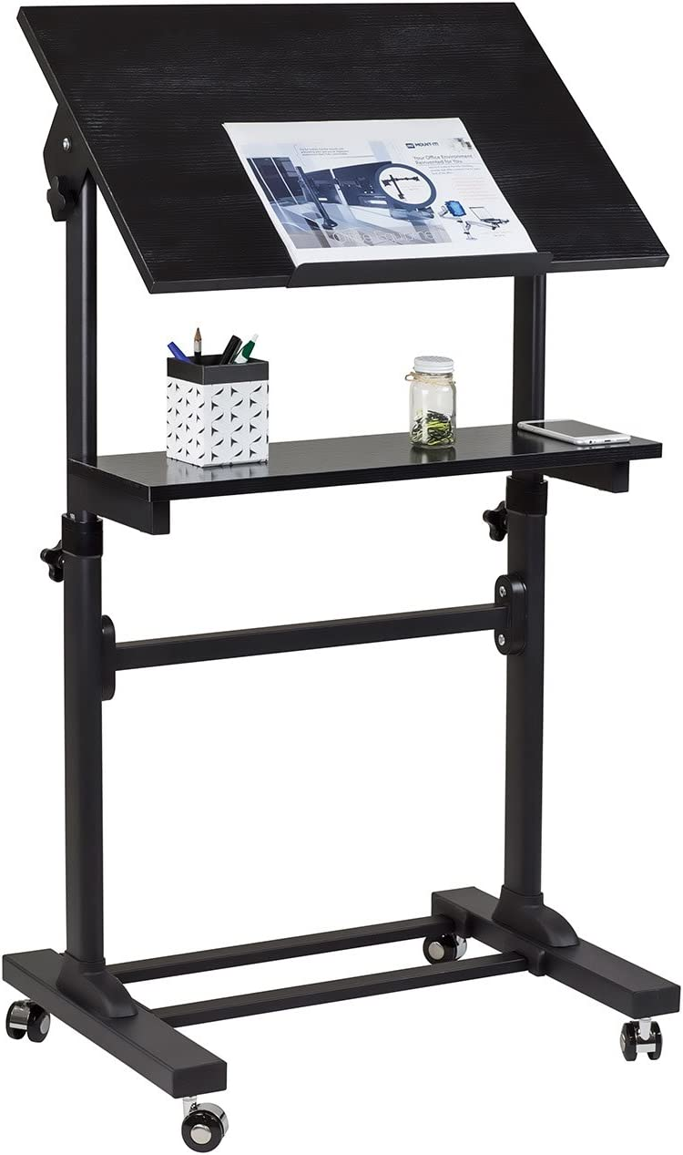 Mount-It! Mobile Stand Up Desk, Portable Podium and Presentation Lectern Height-Adjustable Multi-Purpose Standing Workstation,Black.