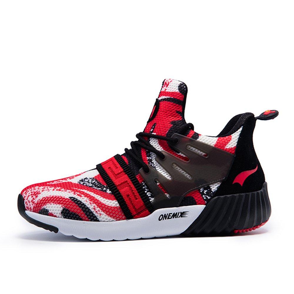 Onemix Men Air Cushion Black Sneakers Walking Sport Shoes B07195WPRL 10 D(M) US 11.02inch|Blackred