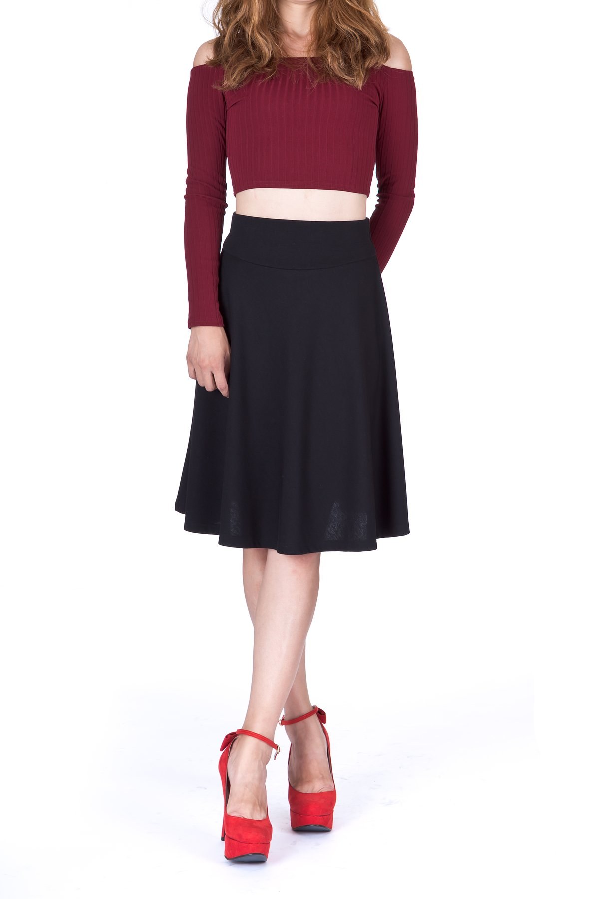 Impeccable Elastic High Waist A-line Full Flared Swing Skater Knee Length Skirt (M, Black) by Dani's Choice (Image #4)