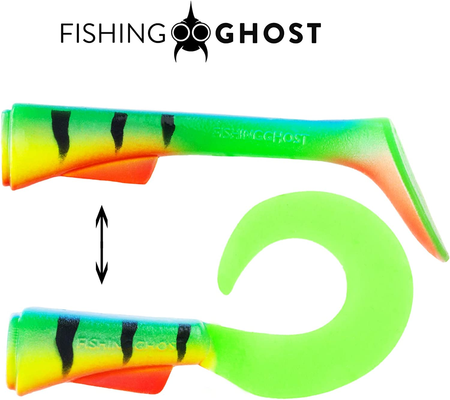 FISHINGGHOST/® Grumpy SWITCH 15cm fishing lures for pike fishing Swimbait bait for pike fishing with interchangeable tail 23-28gr Extreme swimming action Softbait