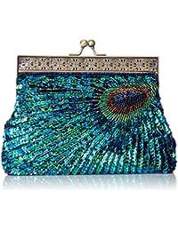 Nisha Beaded Sequin Peacock Clutch
