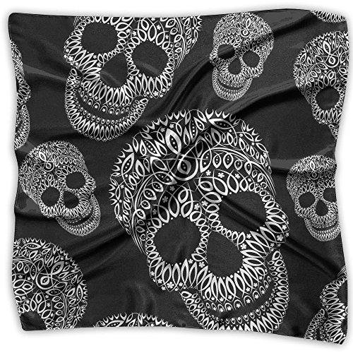 Ornamental Silk Square Scarf - Women's Emulation Silk Scarf Ornamental Skull Large Square Satin Headscarf 2 Size