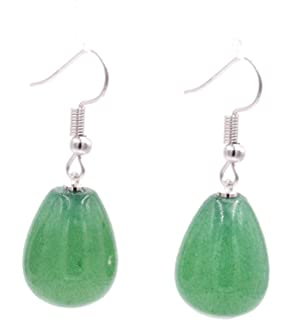 Earrings eardrops made of jade ball green & 925 silver earrings ear hooks