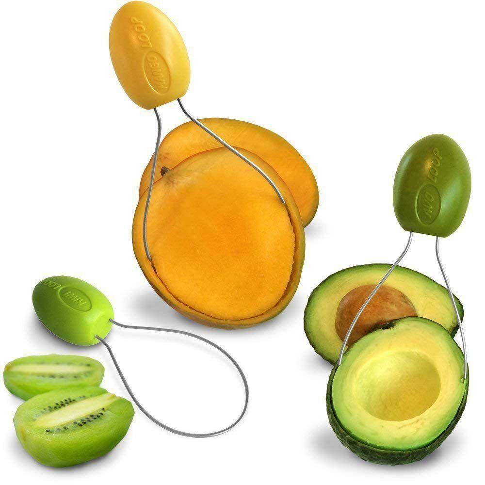 AvoLoop - Fast peel any fruit or soft vegetable with ease. Avocado Slicer  Peeler Pitter Scooper, Mango Corer, Kiwi Fruit Scoop Kitchern Tool.  EZ-clean 3 in 1 vegetable peeler set.: Amazon.in: Grocery