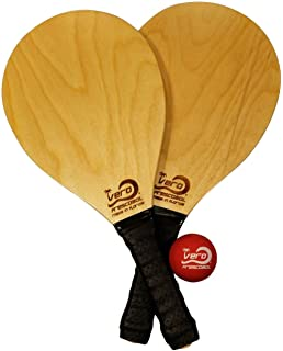 Vero Frescobol American Birch Wood Beach Frescobol Paddle Set, Official Ball, Tote-bag