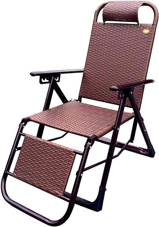 HHUT Silla de jardín reclinable Silla de Cubierta - Descanso for el Almuerzo Tumbona Reclinable de Oficina Tejido a Mano Sillón reclinable de Maternidad Sillas de Patio Patio al Aire Libre Playa: