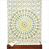 EYES OF INDIA - Twin White Yellow Indian Hippie Mandala Tapestry Art Bedspread Beach Dorm Bohemian Boho