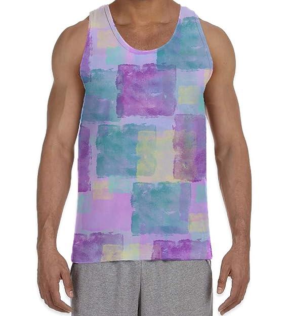 4d65daf56c39e Amazon.com  Pastel Squares Purple Men s All Over Graphic Vest Tank ...