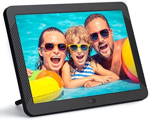 8 Inch Digital Picture Frame 1920×1080 IPS Widescreen, Digital Video Photo Frame with 100 Brightness, 10 Slideshow Effects, 5 Play Modes and Calendar Alarm SD USB Slots-Black