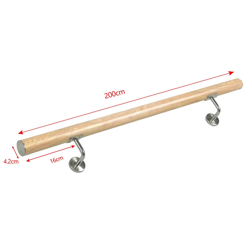 balcon ou parapet Garde-corps pour int/érieur et ext/érieur MCTECH 120cm Balustrade inox pour Escaliers Main courante bois 120cm,couleur claire