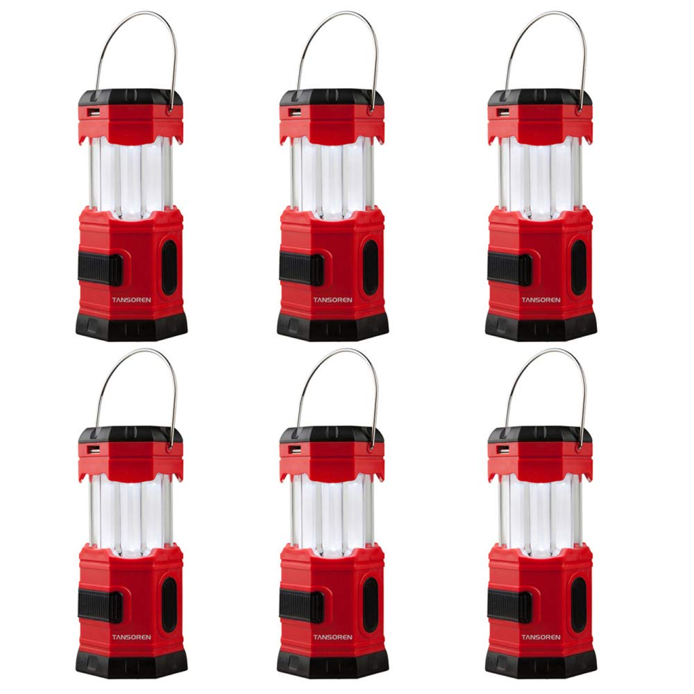 TANSOREN 6 PACK LED Camping Lantern, Solar USB Rechargeable or 3 AA Power Supply, Built-in Power Bank Emergency LED Light with''S''