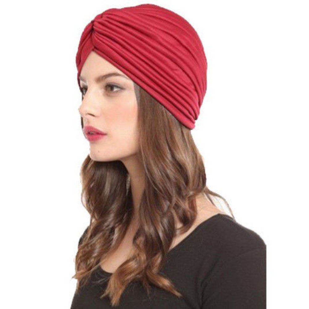 Weixinbuy Women Indian Style Headwrap Cap Turban Hat Hair Cover Red Wine