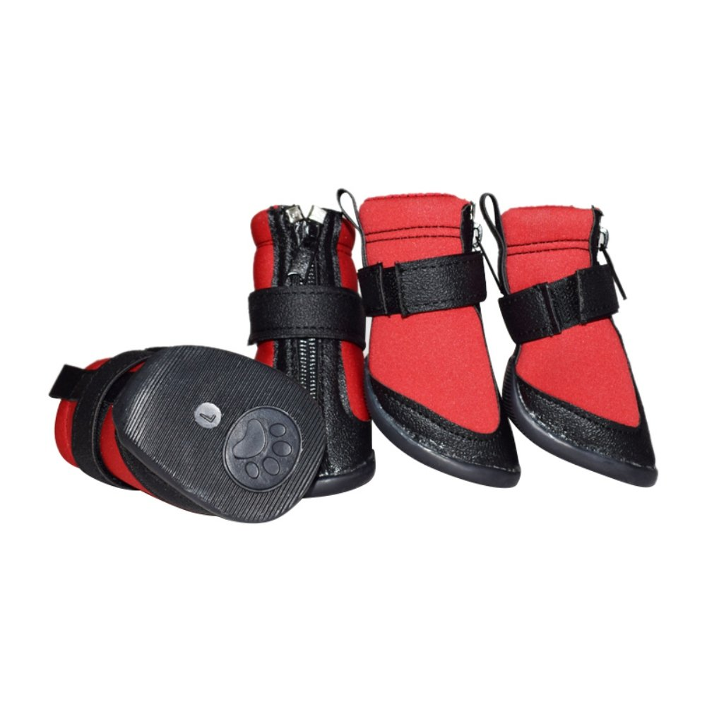 Norbi Puppy Dog Boots Waterproof Skidproof Protective Dog Rain Shoes Anti Slip Wear-Resisting Dog Sneakers for Large Dog Red B
