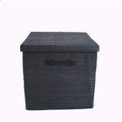 XIAOJUNJUN Cajas De Almacenaje Juguete Plegable Cuadrado del Juguete del Cajón del Cajón del Guardarropa Negro