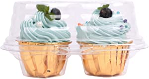 2 Cavity 50 Packs Cupcake Containers, Boxes Four Compartment Cupcake Carrier | Cup Cake Transport Packaging Clear Plastic Disposable Cake Storage Party Supplies (Clear 2 Cavity 50 PACK)