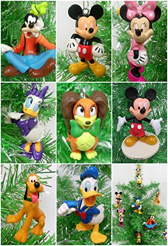 "Mickey Mouse Clubhouse 8 Piece Random Christmas Ornament Set Featuring Random Mickey and Friends Characters - Around 3"" Tall"