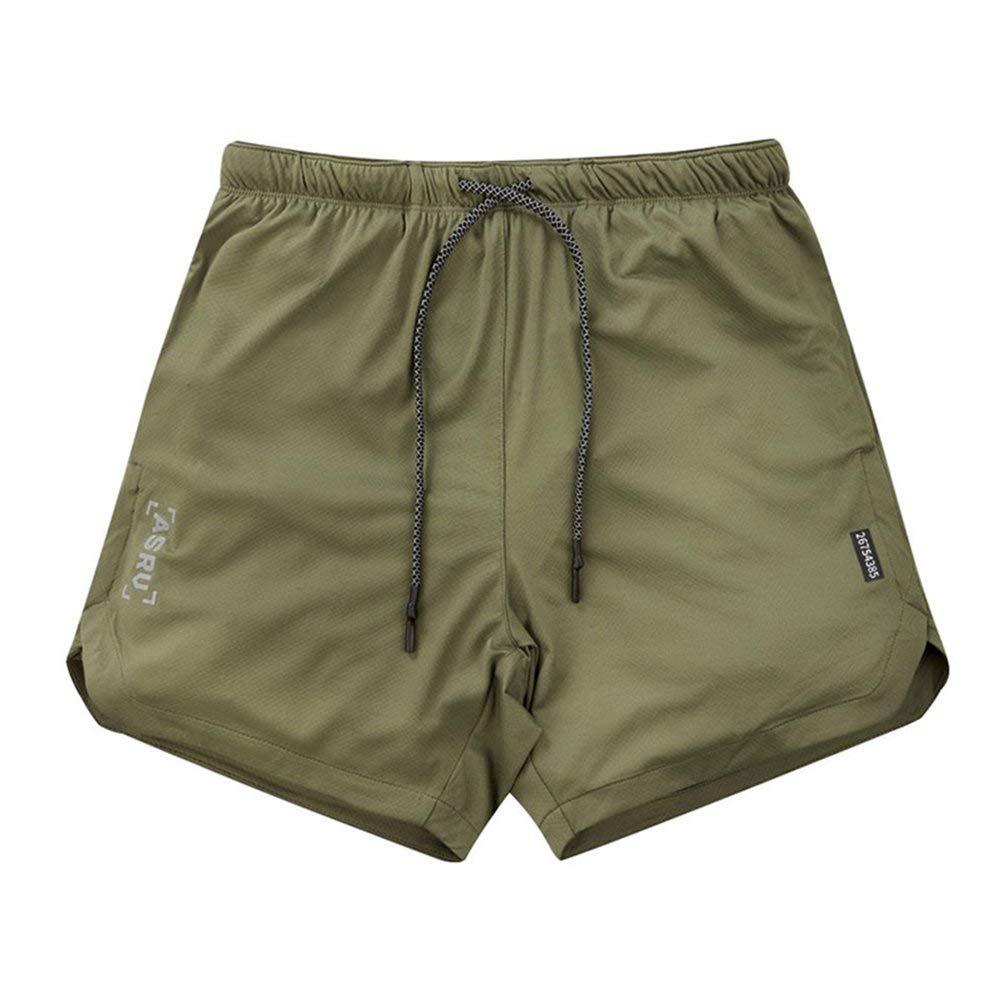 Wenwenzui Pantaloncini Sportivi da Ginnastica da Uomo Pantaloncini Maschili Tinta Unita da Ginnastica Fitness Pantaloncini Elastici XL Verde Militare