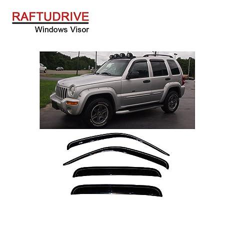 D/&O MOTOR 4pcs Front+Rear Smoke Sun//Rain Guard Outside Mount Tape-On Window Visors for 02-07 Jeep Liberty