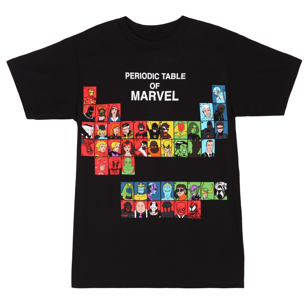Periodic Table Of Marvel T-shirt (Medium, Black)