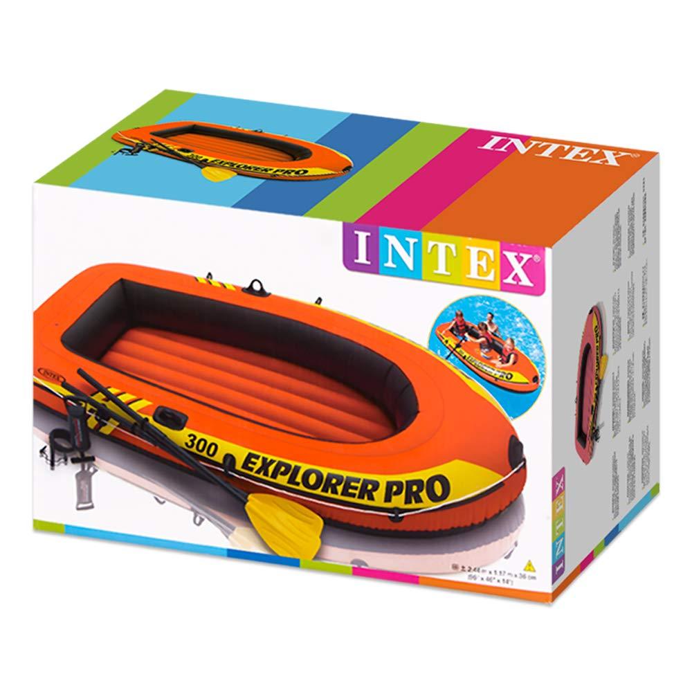 2 Paddel und Luftpumpe Remi//Pompa INTEX Explorer PRO 300 Set Phthalates Free INKL Arancione//Nero 244x 117 x 36 cm