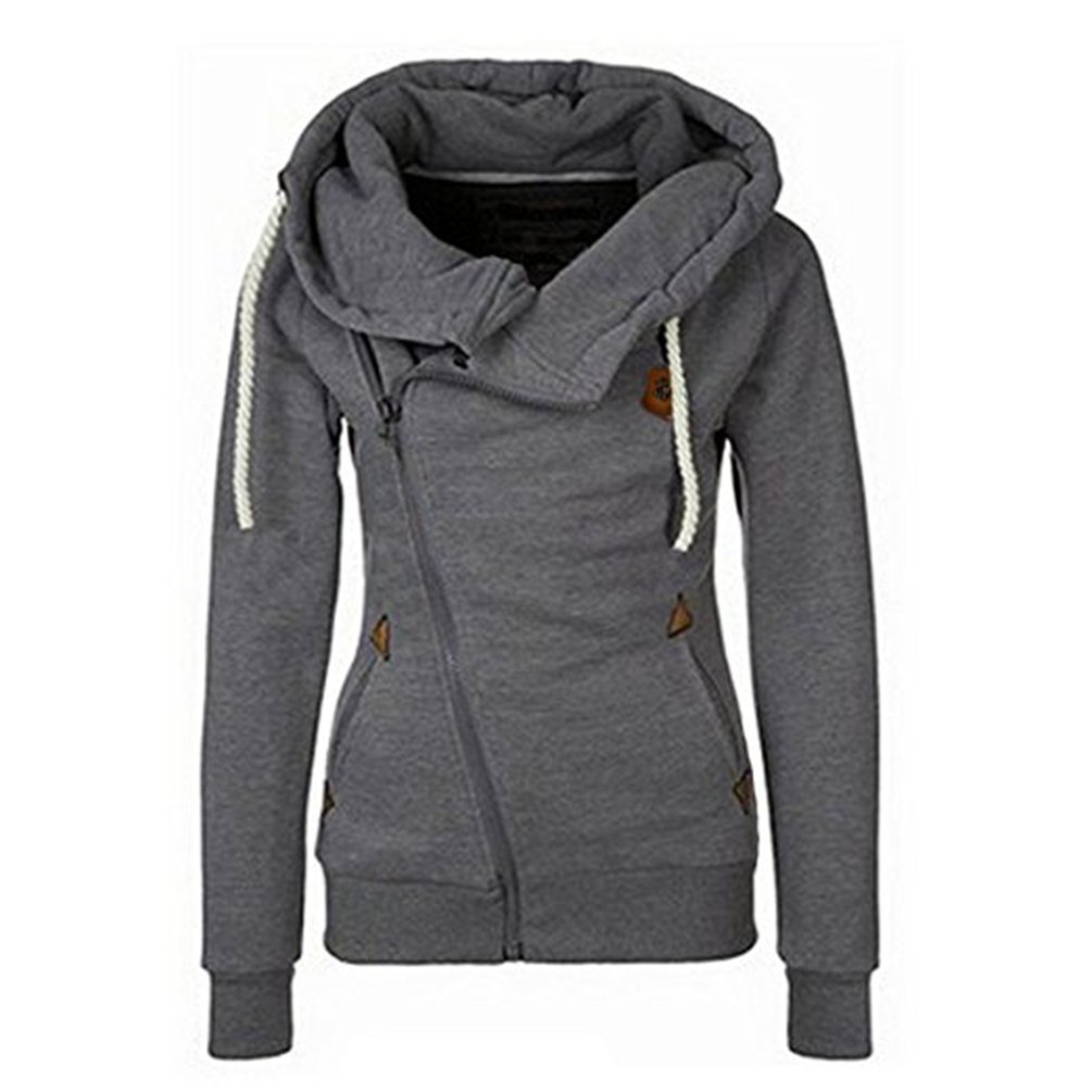 Seamido Women Side Zipper Casaul Hoodies Long Sleeve Warm Sweatshirt-Dark Gray-XL