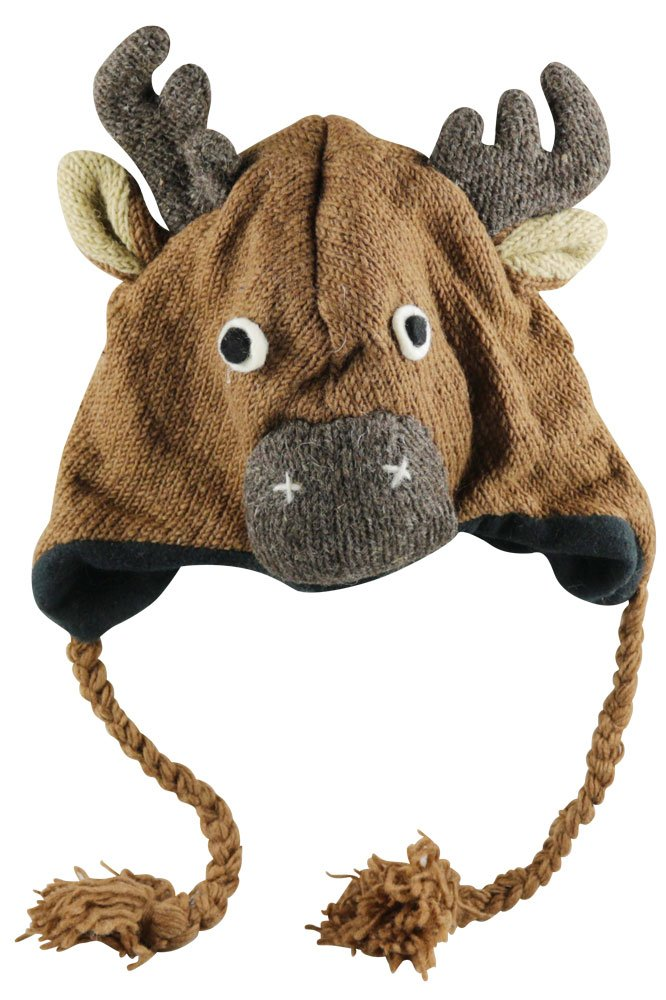 Nepal Wool Lined Animal Hat - Moose