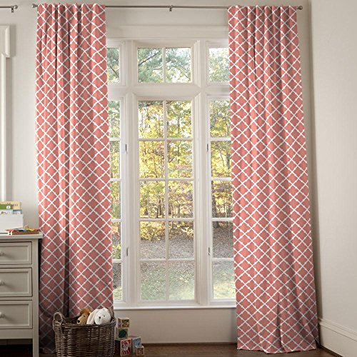 Carousel Designs Light Coral Lattice Drape Panel 96-Inch Length Standard Lining 42-Inch Width by Carousel Designs