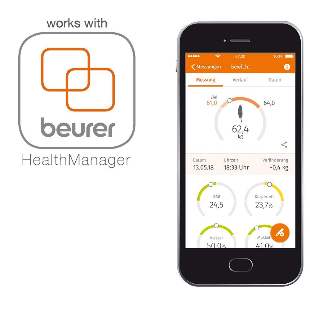 Beurer BF 600 - Bascula digital de vidrio, 180 kg /100 gr, diagnostica con IMC, Bluetooth, LCD, 4 electrodos, con App en español, color antracita: ...