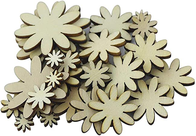 30 Mixed Flowers Leaves Wooden Shapes Cardmaking Scrapbooking Decor Journal Art