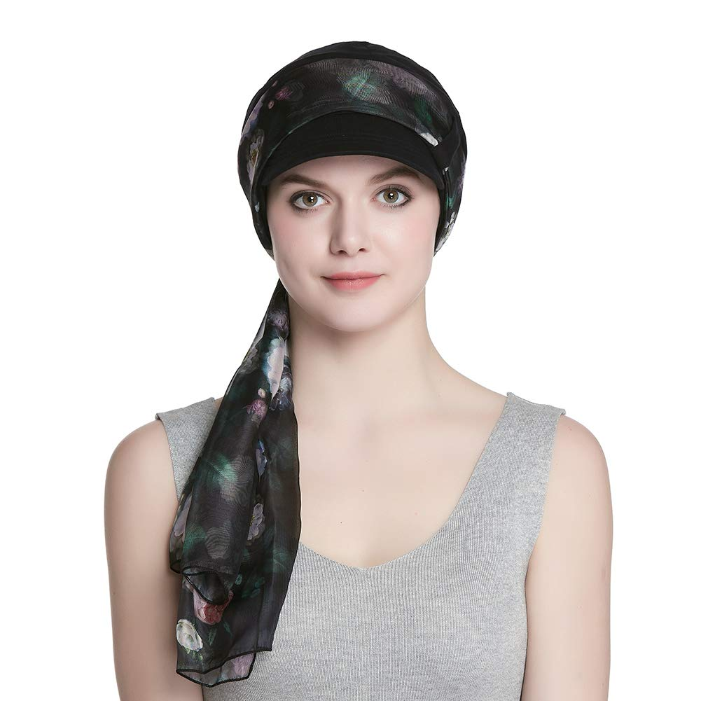 Cap and Scarf Set for Women Newsboy Cap Black by Alnorm